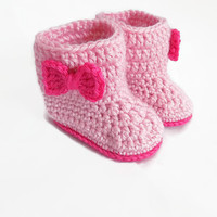 Pink Baby Boots, Baby Girl Booties, Bow Boots, Pink Bow Booties, Baby Girl