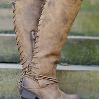Tay Flat Tall Boot With Lace Up Back: Tan