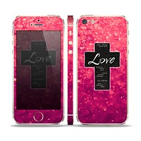 The Love is Patient Cross over Unfocused Pink Glimmer Skin Set for the Apple iPhone 5s