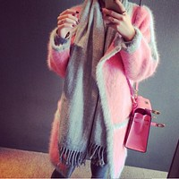Fashion Trends Autumn Winter Mink Cashmere Sweater Wome Cardigan Ladies' Knitted Christmas Sweater Poncho Coat Female Jumpers