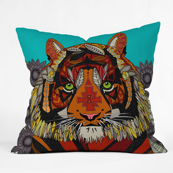 Sharon Turner Tiger Chief Outdoor Throw Pillow