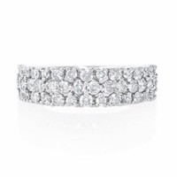 .95ct Diamond Three Row 18k White Gold Wedding Band Ring