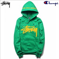 Stussy Studious tide champion champion plus cashmere sweater joint embroidered hooded hedging long-sleeved jacket Green