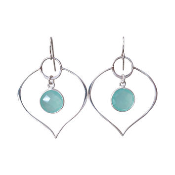 Silver Lotus Aqua Chalcedony Drop Earrings