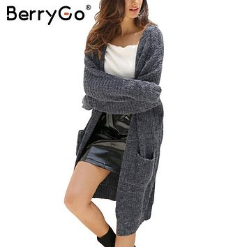 BerryGo Winter knitted sweater long cardigan Women autumn long sleeve pocket cardigan Casual streetwear loose sweater jumper