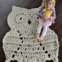 Owl Rug - Rope Rug - Huge Owl for your home decor - Handmade To Order