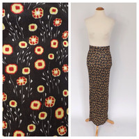 Vintage Versace Jeans Couture Skirt 1990's Floral Maxi Skirt Boho size small Gypsy Skirt 90s Versace Skirt Long Black Grunge Couture Skirt