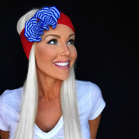 Patriotic Fourth of July Blue White Stripe Red Flowers Jersey Knit Headband Turband Hair Head Band Accessories Cute Boho 4th Accessory