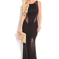 BLACK SLEEVELESS MESH INSERT LONG MAXI DRESS