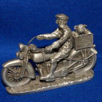 Harley Davidson Sculpture Fine Pewter Small 1991 TRUSTY FRIENDS Gift For Him FREE Shipping