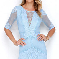 Doe a Dear Light Blue Lace Bodycon Dress