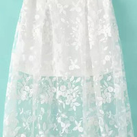 White Lace A-line Skirt