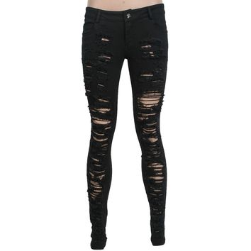 Black goth Destroyed women's skinny pants by Punk Rave