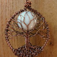 Tree of Life Necklace w White Jade Moon