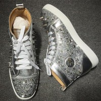 Cl Christian Louboutin Rhinestone Style #1955 Sneakers Fashion Shoes