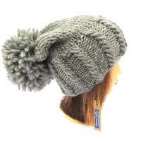 Chunky knit hat - knitted gray hat with large pom pom - stylish and trendy knit hat - medium gray wool hat for women - birthday gift for her
