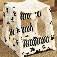 Cat House Bed Toy Nap Sleep Scratch Paw Print Kitty Kitten Pet Post Play NEW