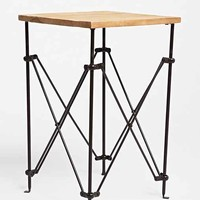 Wood Accordion Side Table- Brown One