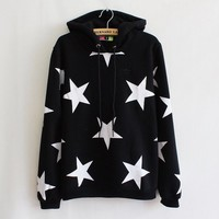 Star Hooded hedging thick fleece sweater (black)
