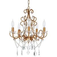 5 Light Classic Crystal Plug-In Chandelier (Gold)