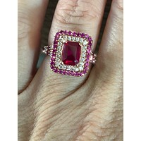 14K Rose Gold 2CT Emerald Cut Red Ruby Halo Engagement Ring
