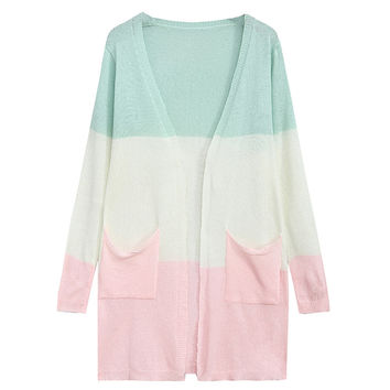 Color Blocking Striped Pockets Knitted Sweater Cardigan