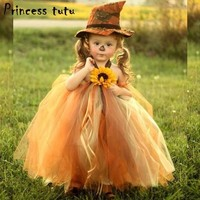 PRINCESS TUTU Flower Pumpkin Baby Girls Witch Dress Novelty Tulle Halloween Cosplay Witch Costume Girls Dress Kids Dresses W073
