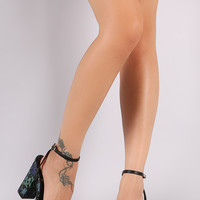 Floral Lace Print Ankle Strap Chunky Heel