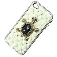 Luxury White Deluxe Leather Chrome Black Turtle Case Cover for Iphone 5 5S