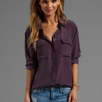 Equipment Punctual Dot Printed Signature Blouse in Peacoat Rhubard from REVOLVEclothing.com