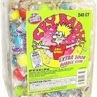 Cry Baby Extra Sour Bubble Gum 240ct. Tub, 38oz