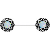 """White Synthetic Opal Lotus Flower Nipple Barbell 14 Gauge 5/8""""   Body Candy Body Jewelry"""