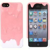 Katecase Hot Sell Melting Ice Cream Hard Back Cover Case for iPhone 5 5S Pink/White