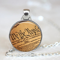 JOLLY SALE Constitution Necklace, United States Constitutional Rights Art Print Necklace, Home of the Brave America Jewelry, We the People (