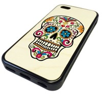 For Apple iPhone 5C REAL MAPLE WOOD WOODEN Case Cover Skin Colorful Day of the Dead Sugar Skull DESIGN BLACK RUBBER SILICONE Teen UNIQUE CUSTOM Gift Vintage Hipster Fashion Design Art Print Cell Phone Accessories