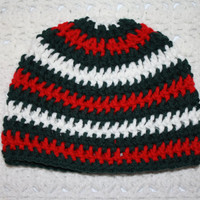 Flash Sale CYBER MONDAY Boys Christmas Hat 3-6 mo Red Green and White Baby Shower Gift, Infant, Perfect Photo Prop