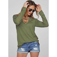 Long Sleeve Caged Neck Top