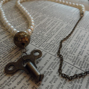 Clock Key Necklace, Vintage, Pearls, Steampunk, Recycled Jewelry S25