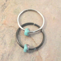 Turquoise and Gold Beaded Cartilage Hoop Earring Septum Tragus Nose Ring Upper Ear Piercing 20 Gauge