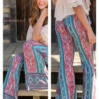 From Where I Stand Emerald Printed Bell Bottoms