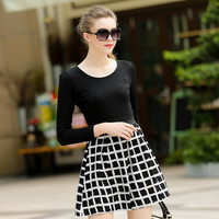 Black Long Sleeves Checkered Swing Dress