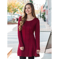 Long Sleeve Pattern Knit Sweater Dress