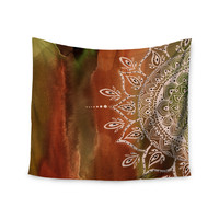 "Li Zamperini ""Autumn Mandala"" Orange Brown Wall Tapestry"