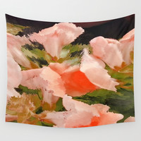 Flower Abstract Pink and Peach Snapdragons  Wall Tapestry by Jen Warmuth Art And Design