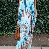 Blue Floral Print Pockets Backless Spaghetti Strap Deep V-neck Bohemian Maxi Dress