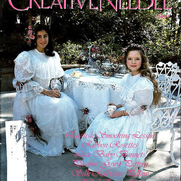 90s Creative Needle Magazine May June 1995 Baby Preemie Gown Bonnet Sewing Patterns Smocking Plate Heirloom Embroidery Techniques How To