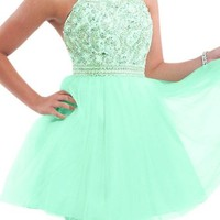 Audrey Bride Woman's Short Prom Dress Homecoming Dress Rhinestone