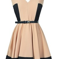 Lily Boutique Taupe and Navy Colorblock Belted Dress, Beige and Navy Colorblock Dress, Colorblock Belted A-Line Dress, Country House Weekend Taupe and Navy Belted Dress Lily Boutique