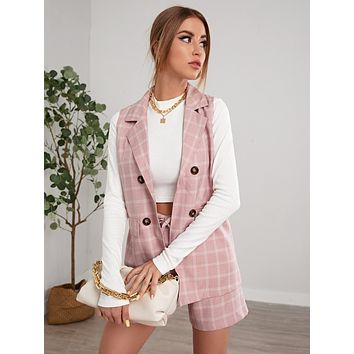 Plaid Double Breasted Blazer Vest & Belted Shorts