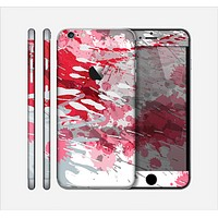 The Abstract Red, Pink and White Paint Splatter Skin for the Apple iPhone 6 Plus